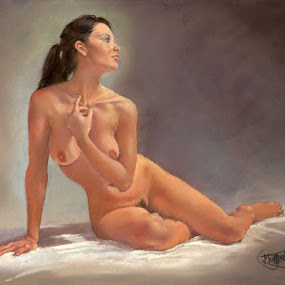 Amanda by Margaret Merry - Painting All Painting ( pastel, nude, figure study, female, woman, art, painting, drawing, portrait, figurative art )