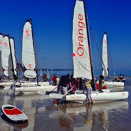 Sailing school  by Ciprian Apetrei - Instagram & Mobile Android ( ocean, beach, mobile photos, sailing, brittany )