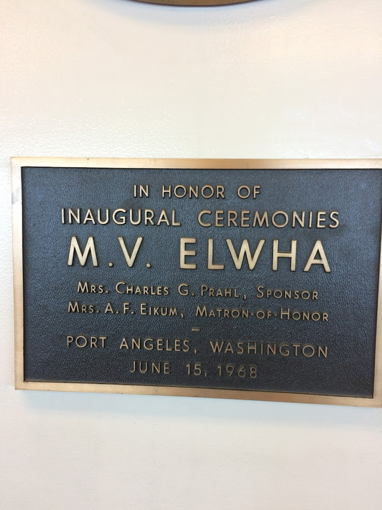 IN HONOR OF INAUGURAL CEREMONIES M. V. ELWHA MRS. CHARLES G. PRAHL, SPONSOR MRS. A. F. EIKU, MATRON-OF-HONOR PORT ANGELES, WASHINGTON JUNE 15, 1968