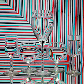 5 Glasses by Peter Salmon - Artistic Objects Glass ( water, glasses, glass, lines, light )