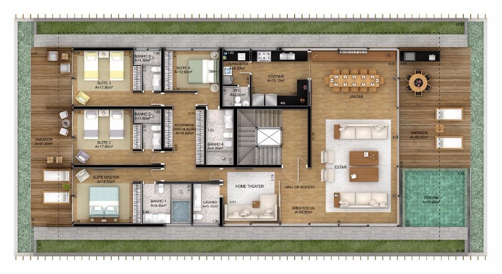Planta Cobertura - 501 m²