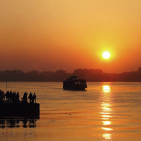 On The Way To Home by Sautrik Dutta Mantrani - Novices Only Landscapes ( kolkata, sunset, ganges )