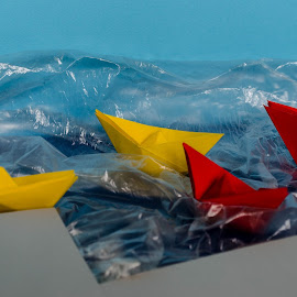 paper boats by Georgi Tsachev - Artistic Objects Toys ( water, sky, red, blue sky, color, blue, paper, boats, yellow, beach, geometric, forms )