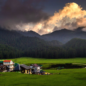 SUnset at Khajjiar by Akash Deep - Landscapes Prairies, Meadows & Fields ( grassland, chamba, himachal pradesh, sunset, greenlands, dalhousie, khajjiar, golden hour )