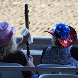 Got our Hats on by Amber O'Hara - People Street & Candids ( hats, cowboy hat, rodeo, stars and stripes, pink )