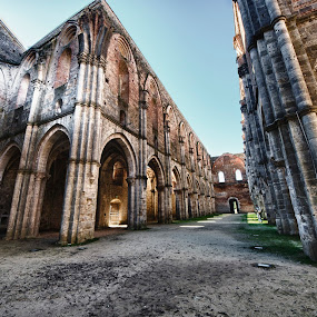 S.Galgano Abbey by Vincenzo Bernardi - Buildings & Architecture Public & Historical ( famous, nobody, archaeological, st.galgano., tuscany, stone, chapel, travel, architecture, historic, religion, open, abbey., sky, ancient, arc, monument, ruins, italy, sightseeing, building, church, carmo, roofless, damage, touristic italian, museum, worship, sacred, destination, history, roof, landmark, catholic, european, touristic, 1200, outdoors, trees, scene, view, medieval, religious,  )