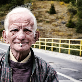 Old Man at Donja Lisina Village by Pavle Randjelovic - People Portraits of Men