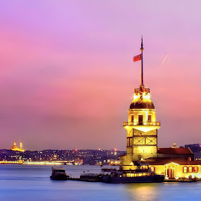 Maiden's Tower by Arda Erlik - Buildings & Architecture Public & Historical ( sunset, turkey, istanbul, maidens tower, city,  )