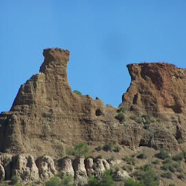Spanish badlands by Jenny Noraika - Landscapes Caves & Formations ( blue sky, caves, high, scrubby, rocks )