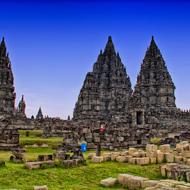 prambanan and stones by Hartono Wijaya  - Buildings & Architecture Public & Historical ( architecture, world heritage, unesco, hinduism, historic, temple, history, hindu, cultural heritage, yogyakarta, ancient, java, prambanan, travel photography )