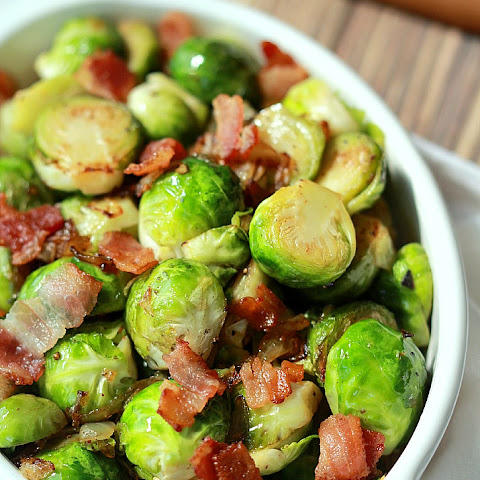 Pan Sauteed Brussels Sprouts with Caramelized Onions & Bacon