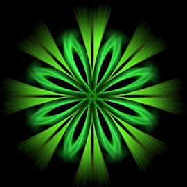 Green Starflower by Nancy Bowen - Illustration Abstract & Patterns ( abstract, starflower, green )
