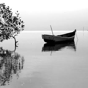 THE BOATS STILL ANCHORED by Endy Wiratama - Transportation Boats