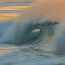 Hollow Victory by Clive Wright - Landscapes Waterscapes ( colour, ocean, spray, light, beach break, water, sea, wave )