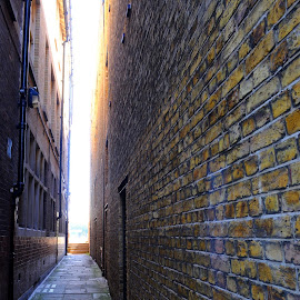 Light at the End of the Alley by DJ Cockburn - Buildings & Architecture Other Exteriors ( flagstones, georgian, england, london, alleyway, bricks, wapping, brickwork, river thames, wall, britain, alley )