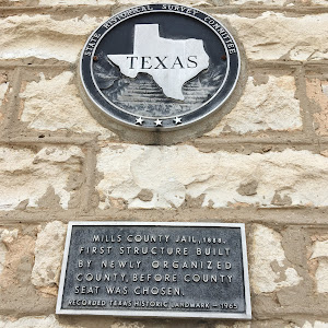 Mills County Jail, 1888. First structure built by newly organized county, before county seat was chosen. Recorded Texas Historic Landmark — 1965.Struck by the fact that before the county did anything ...