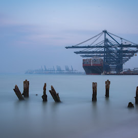 Export by Simon Talbot-Hurn - Buildings & Architecture Bridges & Suspended Structures ( port, water, felixstowe, wooden, cranes, ship, suffolk, long exposure, ships, piles, docks, landscape )
