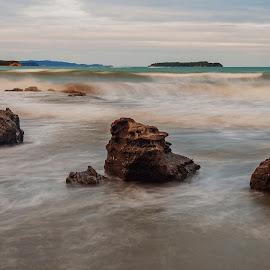 Waves by Richard Kam - Landscapes Beaches ( water, clouds, rocky shoreline, sky, waves, gulf, sea, ocean, rocks, slow shutter )