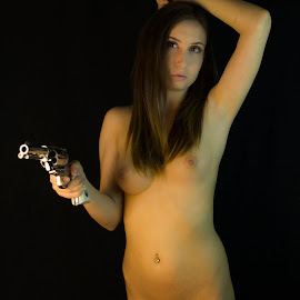 Girl and a 45 by David Kocur - Nudes & Boudoir Artistic Nude ( black background, nude girl, naked girl with gun, western, girl and gun )