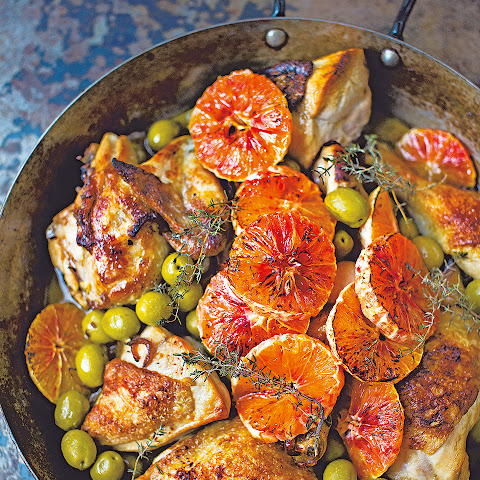 Chicken With Marsala, Olives And Blood Oranges