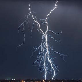 Lightning strike by Enrico Mosca - Landscapes Weather ( lightning, rain, strike, night, weather, thunderstorm, bolt )