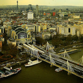London buildings and bridge by Heera Vishvanath - Novices Only Landscapes