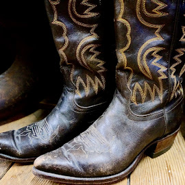 Brown Boots by Barbara Brock - Artistic Objects Clothing & Accessories ( cowboy boots, men's shoes, men's footwear, brown boots, two cowboy boots )