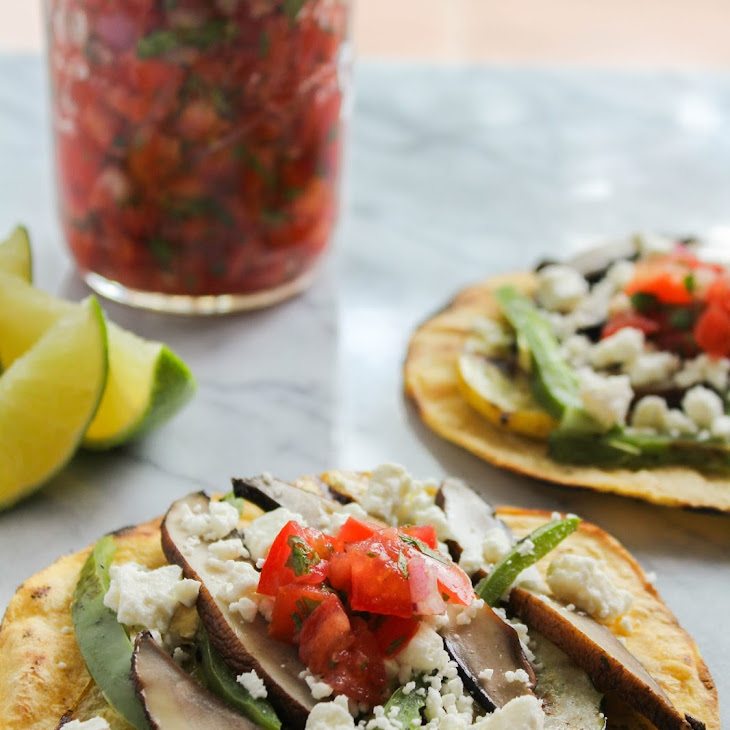Grilled Vegetable Tostadas with Feta and Fresh Tomato Salsa Recipe ...