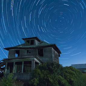 Whirl Wind by Aaron Rigsby - Landscapes Starscapes ( moon, astro, autumn, canon 70d, stars, abandoned house )