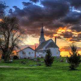 On the hilltop by Chad Heggen - Buildings & Architecture Places of Worship ( church, sunset )