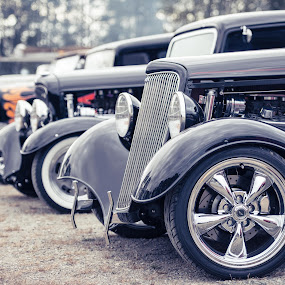 Row by Scott Hemenway - Transportation Automobiles ( car, engine, vintage, candid, clasic, people, bokeh, car club, red, mission, nikon d800, outdoor, f 2.8, tires, summer, driver, mission raceway, ford, crowd, nikon 70-200 2.8 vrii, individuals,  )