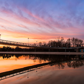Sunset bridge by DC Photos - Novices Only Landscapes ( plovdiv, form, waterscape, sunset, skyporn, rowing_channel, architecture, bridge, bulgaria )
