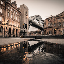 Upside Down by Adam Lang - Buildings & Architecture Architectural Detail ( puddle, tyne bridge, reflection, newcastle, bridge )