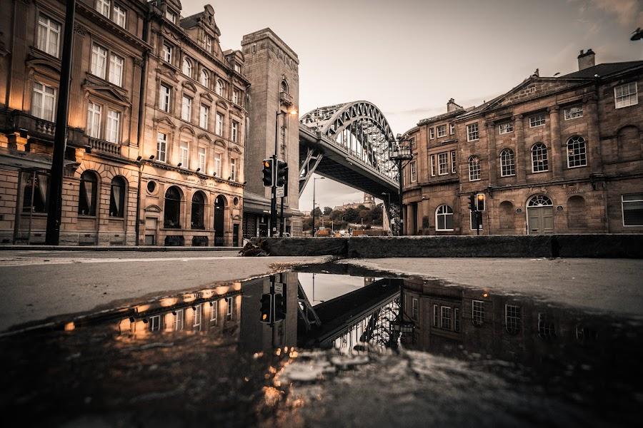 Upside Down by Adam Lang - Buildings & Architecture Architectural Detail ( puddle, tyne bridge, reflection, newcastle, bridge )