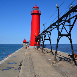 Lake Michigan, Grand Haven Michigan. by John Dodson - Buildings & Architecture Bridges & Suspended Structures