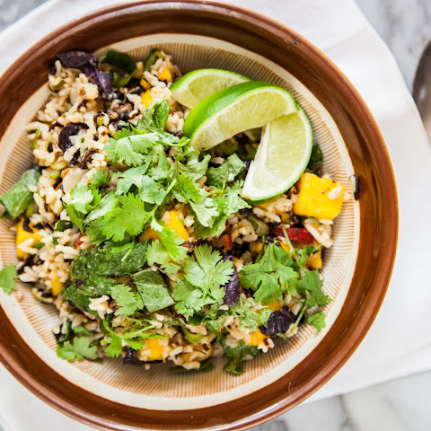 Mango & Brown Rice Salad with Herbs & Fried Shallots