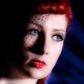 by Graham Sivills Fimis - People Portraits of Women ( headshot, burlesque, red lips, blue eyes, beauty, fifties )