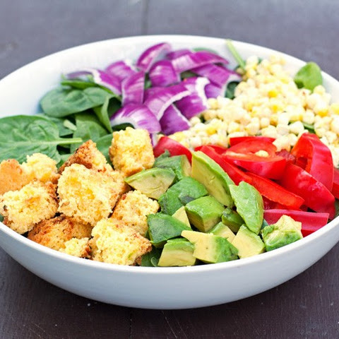 Southwest Salad with Cornbread Croutons