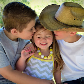Kissing Baby Sis by Tiffany Michelle - Babies & Children Children Candids ( cowboy hat, little sister, children, kids, cute, siblings, sister, love, kid sister, girl, family, precious, boys, care, baby sister, adorable, kisses, brothers )