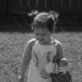 Little Miss Grown Up by Mike Zegelien - Babies & Children Toddlers ( black and white, baby girl, candid, girl toddler, toddler )