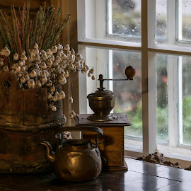 antiques by Marko Paakkanen - Artistic Objects Antiques ( coffee, coffee cup, windows, flower, antiques )