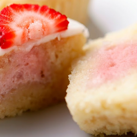 Strawberry Mascarpone filled Cupcakes