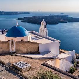 Oia, Santorini Island, Greece by Carol Ward - Buildings & Architecture Places of Worship ( church, santorini island, greece, place of worship, oia, blue dome, island )