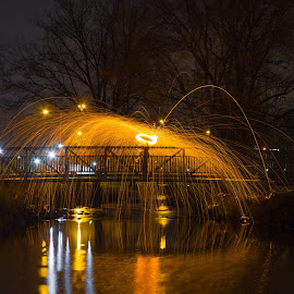 Flaming Bridge by Aires Spaethe - Abstract Light Painting