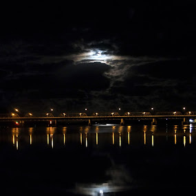 Reflections by Mike Mills - Novices Only Landscapes ( clouds, moon, waterscape, reflections, bridge )
