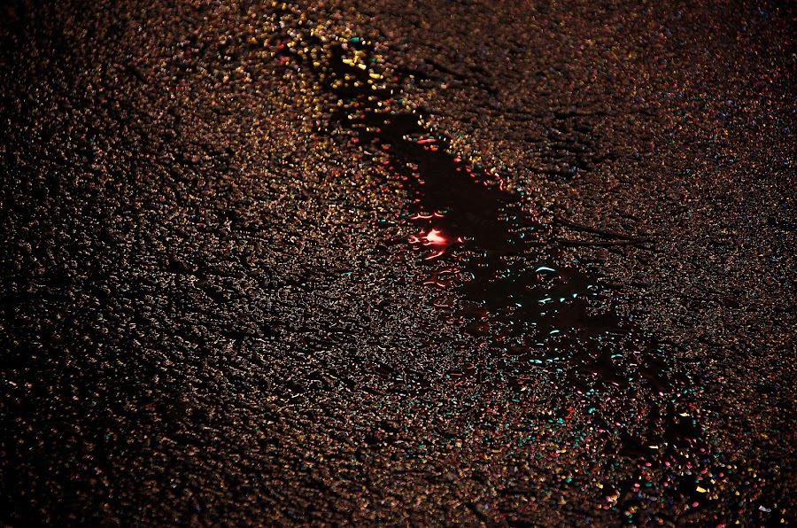 Christmas Pavement by Scott Hemenway - Abstract Fine Art ( abstract, reflection, night, puddle, road, light, pavement )