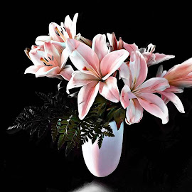 Lilies by Mary Waters - Flowers Flower Arangements ( lilies, digital art, plants, fine art, flowers )