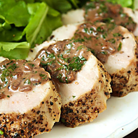 Pork Tenderloin with Burgundy Peppercorn Sauce