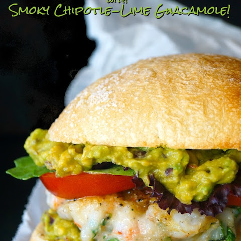 Shrimp Cilantro Burgers with Smoky Chipotle-Lime Guacamole