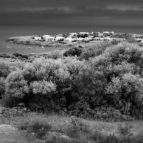 cap d'en font - menorca by Joan Vega - Landscapes Waterscapes ( cap d'en font, b&w, family, outdoor, sea, pwcbwlandscapes, day, dusk, menorca )